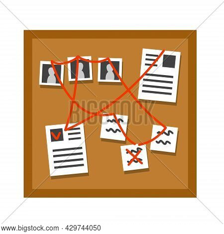 Board With Papers, Photos And Documents And Red Thread Or Rope. Decoration For Investigation And Det