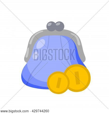 Wallet For Money And Gold Coin. Personal Accessories For Savings. Small Blue Purse. Flat Cartoon Ill