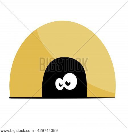 Mouse In Hole In Wall. Character With Eyes In Dark. Funny Rodent Illustration. Outline Cartoon Isola