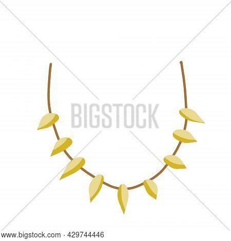 Necklace Of Teeth And Fangs. Primitive Tribal Art. Caveman Clothing. Flat Cartoon Illustration. Deco