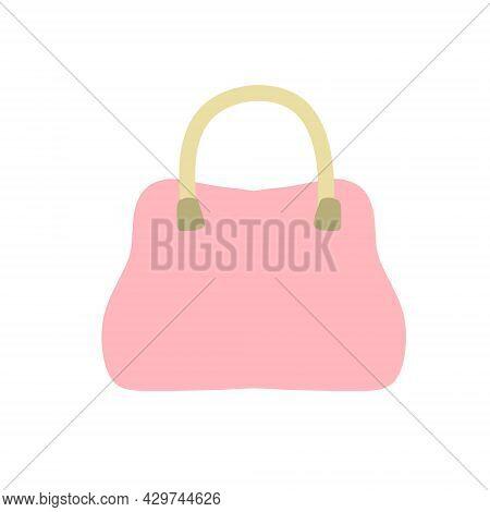 Women Bag. Flat Handbag. Pink Stylish Purse. Personal Accessory. Cartoon Illustration Isolated On Wh