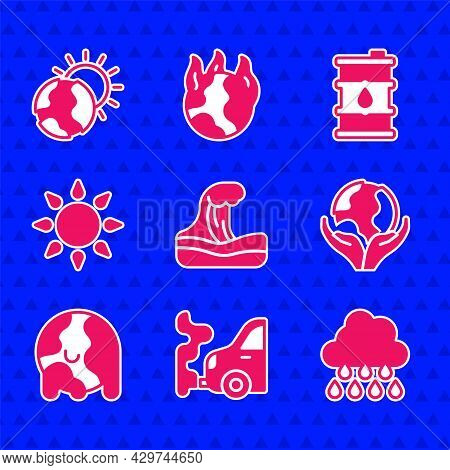 Set Tsunami, Car Exhaust, Cloud With Rain, Hand Holding Earth Globe, Global Warming, Sun, Barrel Oil
