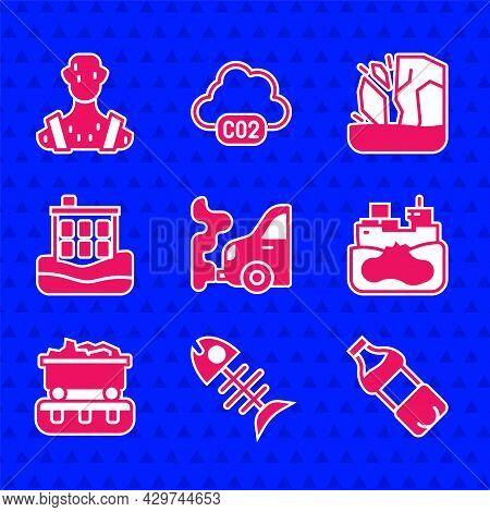 Set Car Exhaust, Dead Fish, Bottle Of Water, Wrecked Oil Tanker Ship, Coal Train Wagon, House Flood,