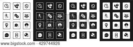 Set Telephone 24 Hours Support, Question And Answer, Man With Headset, Clock, Head Question Mark And