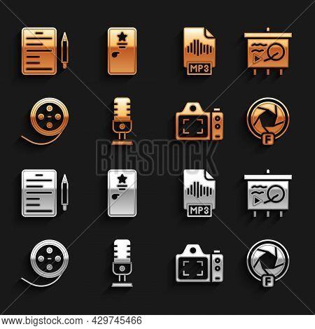 Set Microphone, Scenario Chalkboard, Camera Shutter, Photo Camera, Film Reel, Mp3 File Document, And