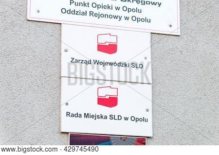 Opole, Poland - June 4, 2021: Emblem Of Democratic Left Alliance (polish: Sojusz Lewicy Demokratyczn