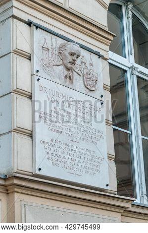 Opole, Poland - June 4, 2021: Memorial Plaque Of Michael Von Matuschka, German Count, Lawyer, Politi