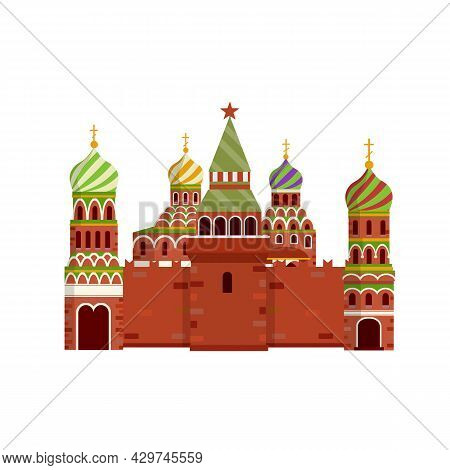 Orthodox Church. Monastery And Cathedral. Element Of Red Square In Moscow Kremlin. Cartoon Flat Illu