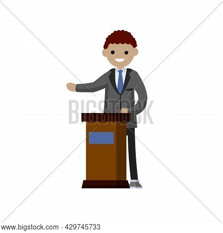 Man In The Suit Stay Behind Podium. Presidential Election. Political Debate. Lecturer In Class. The