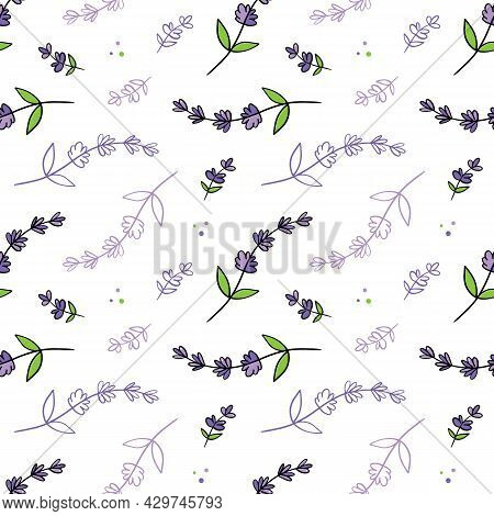 Cute Doodle Style Lavender Flowering Plants Vector Seamless Pattern Background For Nature And Aromat