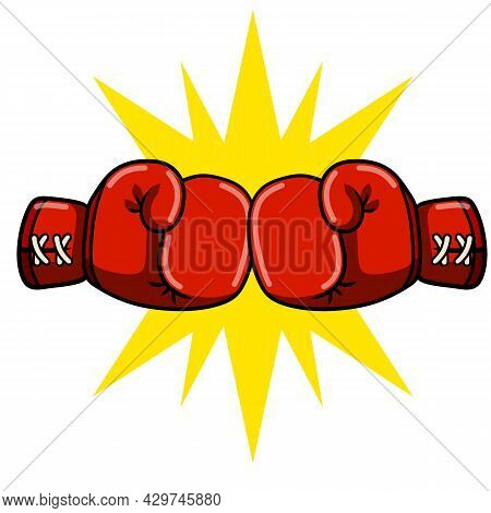 Comic Hand Drawn Illustration. Game And Championship. Fight And Hit. Punch And Combat. Red And Blue