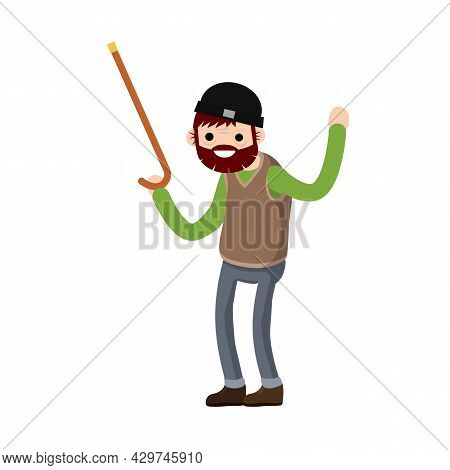 Funny Old Man With Cane. Active Lifestyle And Recreation Grandfather. Cartoon Flat Illustration. Sen