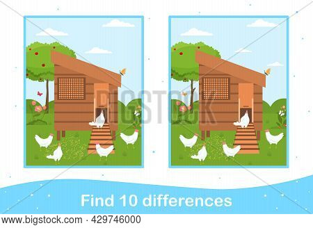 Easter Worksheet With Find Differences Game For Children. Holiday Educational Activity With Hen Coop