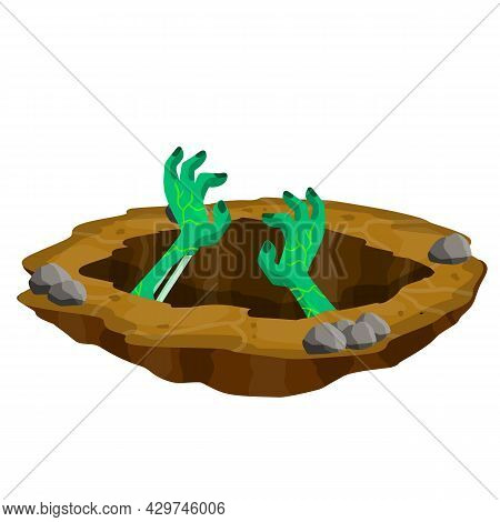 Grave. Hole In Brown Ground. Green Hands Of Dead Zombie. Element Of Halloween. Bones And Rotting Cor
