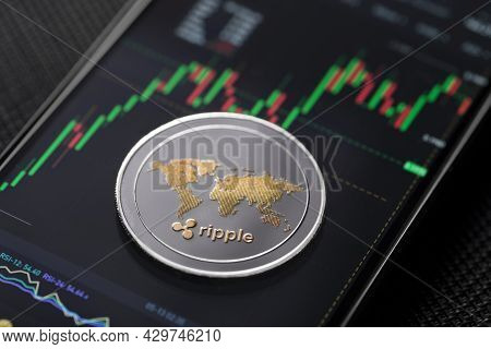 Xrp Ripple Altcoin Trading On Smartphone Close Up