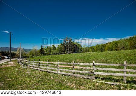 Bjelasnica. Bosnia and Herzegovina- May 11, 2021: Bright blue sky in beautiful bosnian mountains, Bjelasnica. Bosnia and Herzegovina.