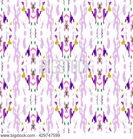 Ikat, Tie Dye. Batik, Hand Drawn Ornament. Geo Surface. Endless Repeat Painting. Pink Rose Old Nativ