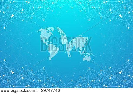 Geometric Graphic Background Molecule And Communication. Big Data Complex With Compounds. Lines Plex