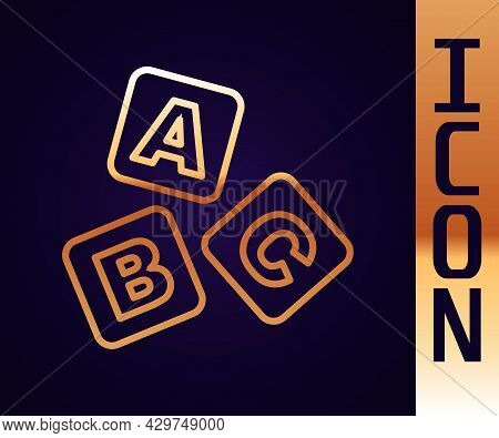 Gold Line Abc Blocks Icon Isolated On Black Background. Alphabet Cubes With Letters A, B, C. Vector