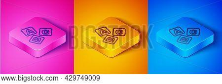 Isometric Line Abc Blocks Icon Isolated On Pink And Orange, Blue Background. Alphabet Cubes With Let