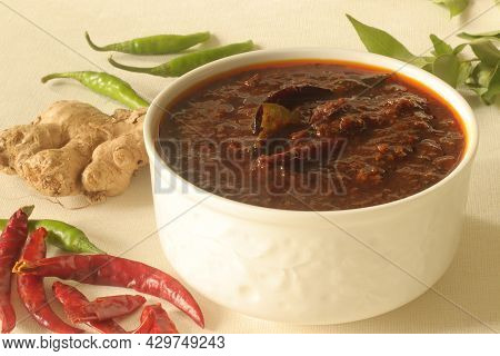 Ginger Curry Is A Dark Brown Sweet-sour And Spicy Keralite Curry Made Of Ginger, Tamarind, Green Chi