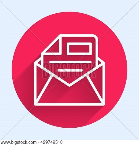 White Line Mail And E-mail Icon Isolated With Long Shadow Background. Envelope Symbol E-mail. Email
