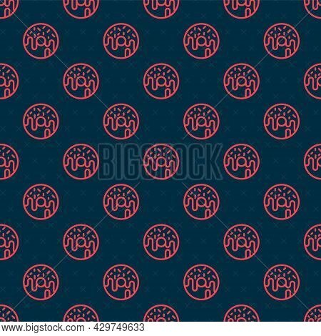 Red Line Donut With Sweet Glaze Icon Isolated Seamless Pattern On Black Background. Vector