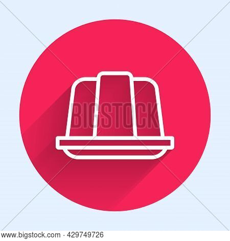 White Line Jelly Cake Icon Isolated With Long Shadow Background. Jelly Pudding. Red Circle Button. V