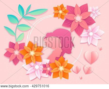 Colorful Happy Mothers Day Paper Cut Card Template Background Of Mom With Child Son And Colorful Spr