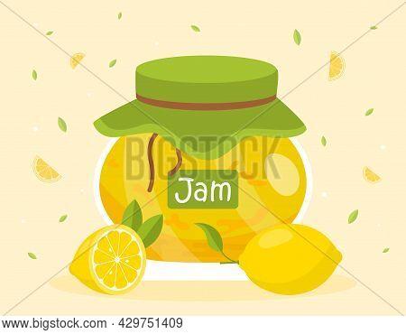 Cute Glass Jar Full Of Lemon Jam On Yellow Background. Fresh Lemons And Tasty Jam Canned In Glass Ja