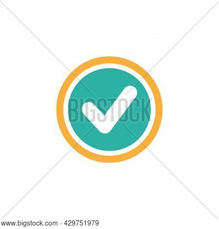 Valid Seal Icon. White Tick In Orange And Blue Circle . Flat Ok Sticker Icon. Isolated On White. Acc