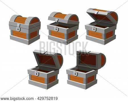 Chest Animation. Cartoon Empty Treasure Casket Opening Frames. Closed Ancient Chest With Lock. Game