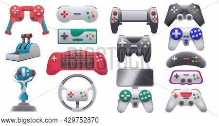 Modern And Retro Video Game Consoles, Gamepads And Joysticks. Wireless Gaming Control Gadgets And St