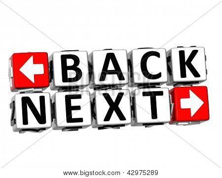 3D Back Next Button Click Here Block Text