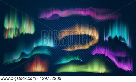 Realistic Lights Of Arctic Aurora Borealis, Northern Natural Phenomenon. Abstract Glowing Wavy Effec