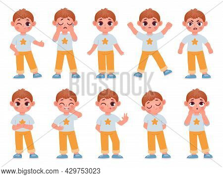 Cartoon Cute Kid Boy Character Expressions And Emotions. Little Child Laugh, Smile, Cry And Surprise