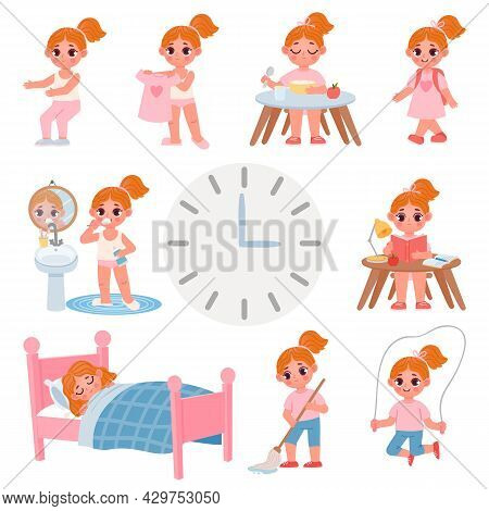 Cute Little School Girl Day Routine Schedule. Cartoon Kid Activity, Exercise, Dress, Brush Teeth And
