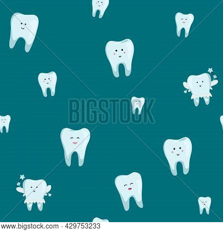 Vector Dental Seamless Pattern: White Teeth On Green Background. Cute Teeth - For Kid Dental Design.