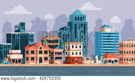 Cartoon City With Ruined Buildings After Earthquake, Disaster Or War. Abandoned Damaged Street And B