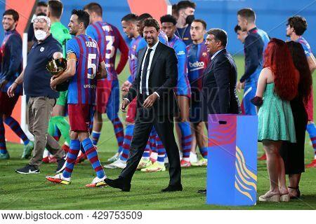 Barcelona, Spain. 08th August 2021 . Andrea Agnelli President  Of Juventus Fc And Joan La Porta Pres