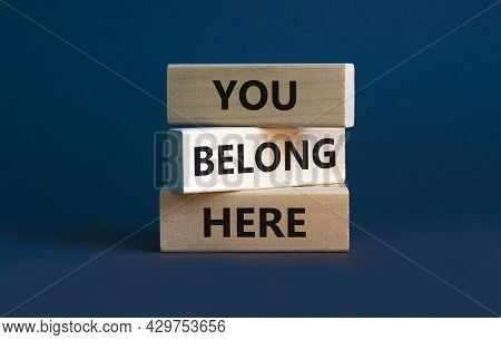 You Belong Here Symbol. Wooden Blocks With Words 'you Belong Here' On Beautiful Grey Background. Div