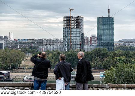 Belgrade, Serbia - September 27, 2019: People Overlooking New Belgrade Municipality Of The City Of B