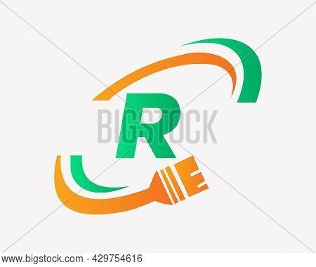 Paint Logo With R Letter Concept. R Letter House Painting Logo Design
