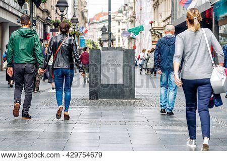 Belgrade, Serbia - September 27, 2019: Stone Mark At The Beginning Of Knez Mihailova Street, Main Pe