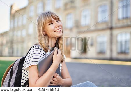 College Study Or Educational Concept. Happy Adorable Smiling Blonde College Or University Student Fe