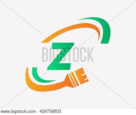 Paint Logo With Z Letter Concept. Z Letter House Painting Logo Design