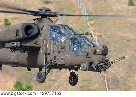 Ankara, Turkey - June 26, 2021: Turkish Police Aviation T-139 Atak At Display At The 40th Anniversar