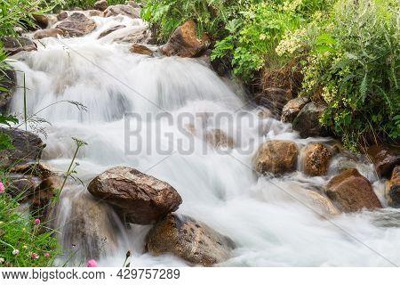 Flowing Stream Caucasian Rive Close Up. Georgia