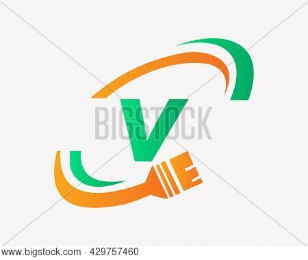 Paint Logo With V Letter Concept. V Letter House Painting Logo Design