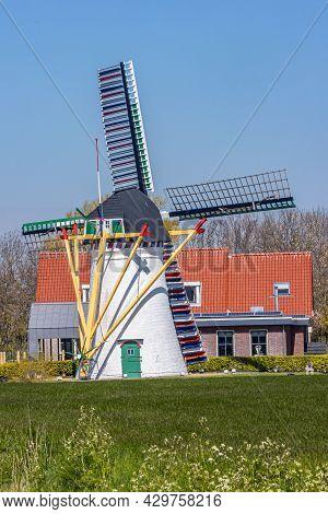 Scharendijke, Schouwen-duiveland In Zeeland, Netherlands. April, 2021. De Leile Flour Mill Built In